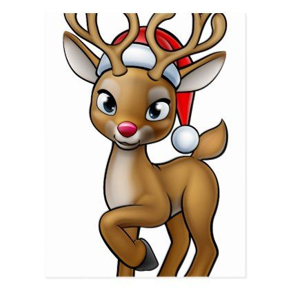 cartoon christmas reindeer wearing santa hat postcard christmas cards merry xmas diy cyo greetings santa - Cartoon Christmas Cards