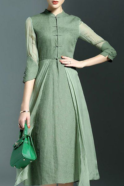 0fc2f57ebaf Elegant 3 4 Sleeve Mandarin Collar Midi Dress For Women