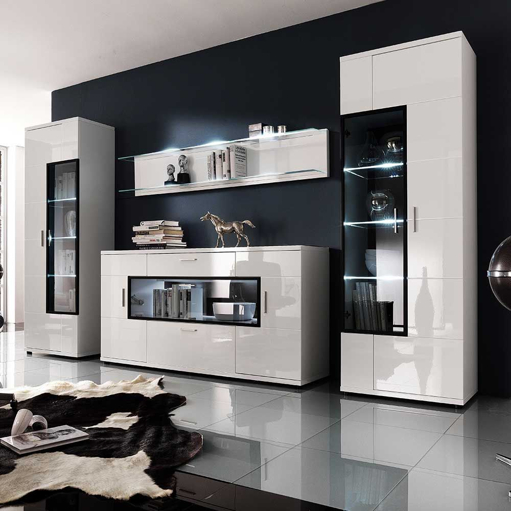 wohnwand in hochglanz wei glas 4 teilig. Black Bedroom Furniture Sets. Home Design Ideas