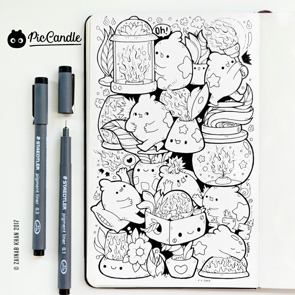 Today\'s Doodle 01JAN17 ~ Fire by #piccandle | Pic Candle Doodles ...