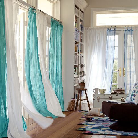 I Like The Idea Of Two Colors Of Flowy Curtains Curtains Living