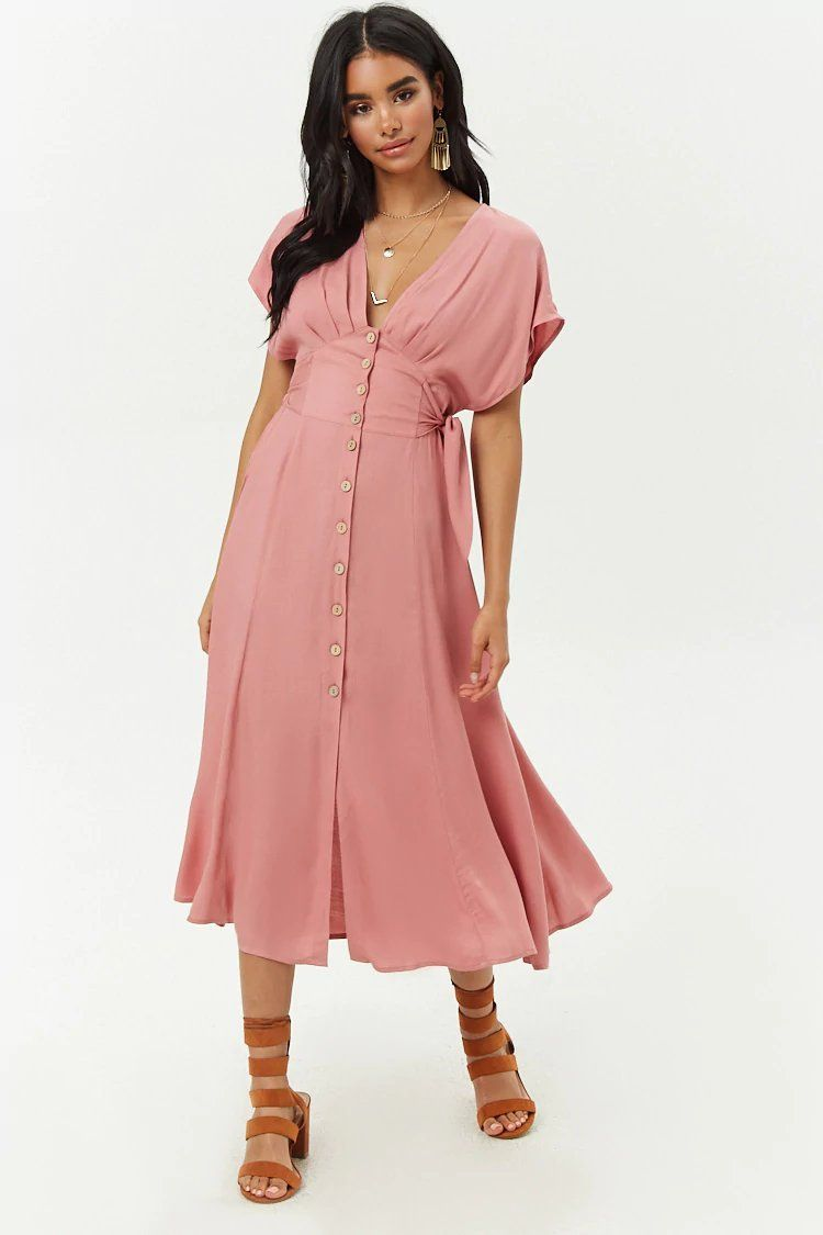 7b81b86df136 Button-Front Midi Dress