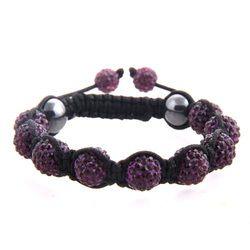 Purple bead Shamballa on black cord with purple crystal end beads.