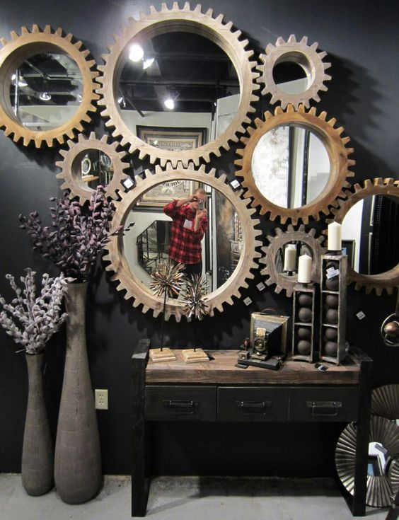 cog mirrors from mercana art decor gear wall art made with a cnc router  table