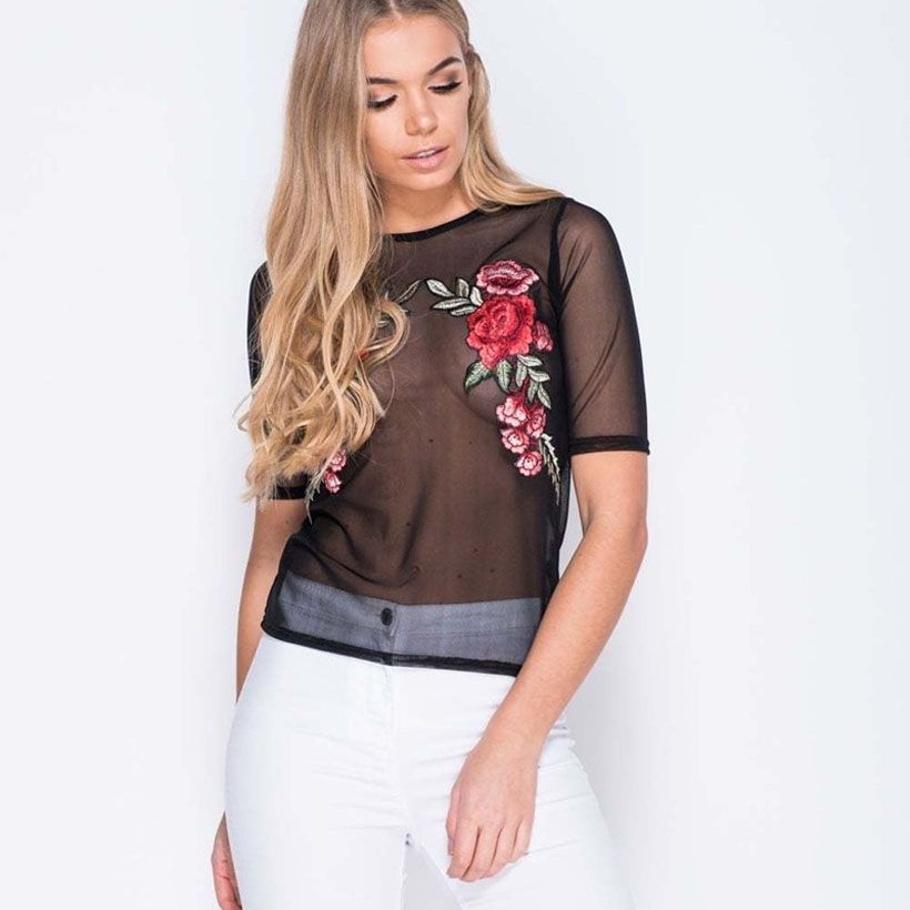 Women Summer Black Embroidered Rose Applique Sheer Mesh Top Sexy