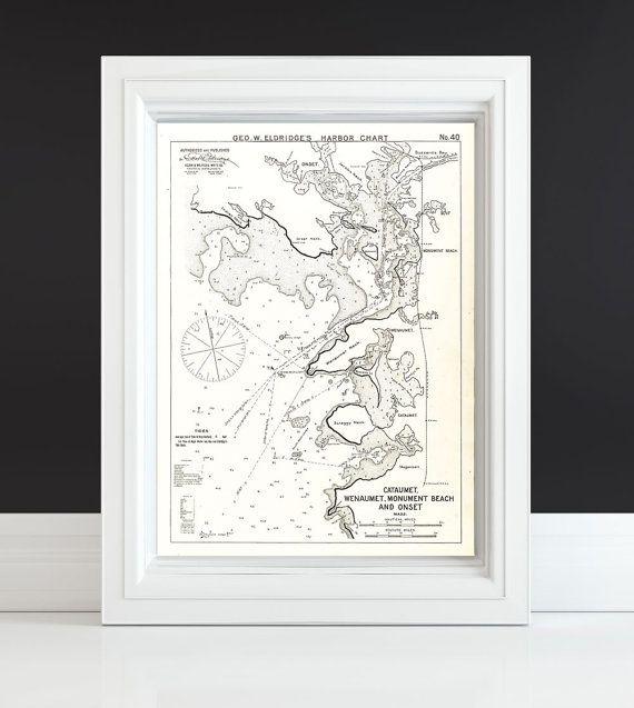 Vintage Cataumet Wenaumet Monument Beach Onset Map by ClavinInc