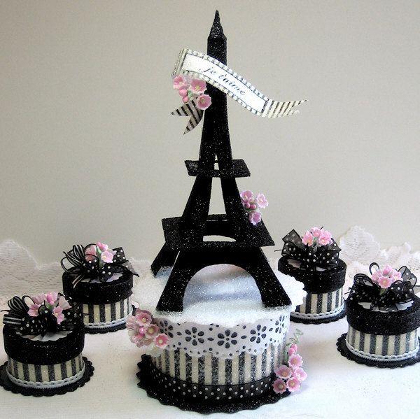 Eiffel Tower Cake Topper Keepsake Box Eiffel tower cake Cake and