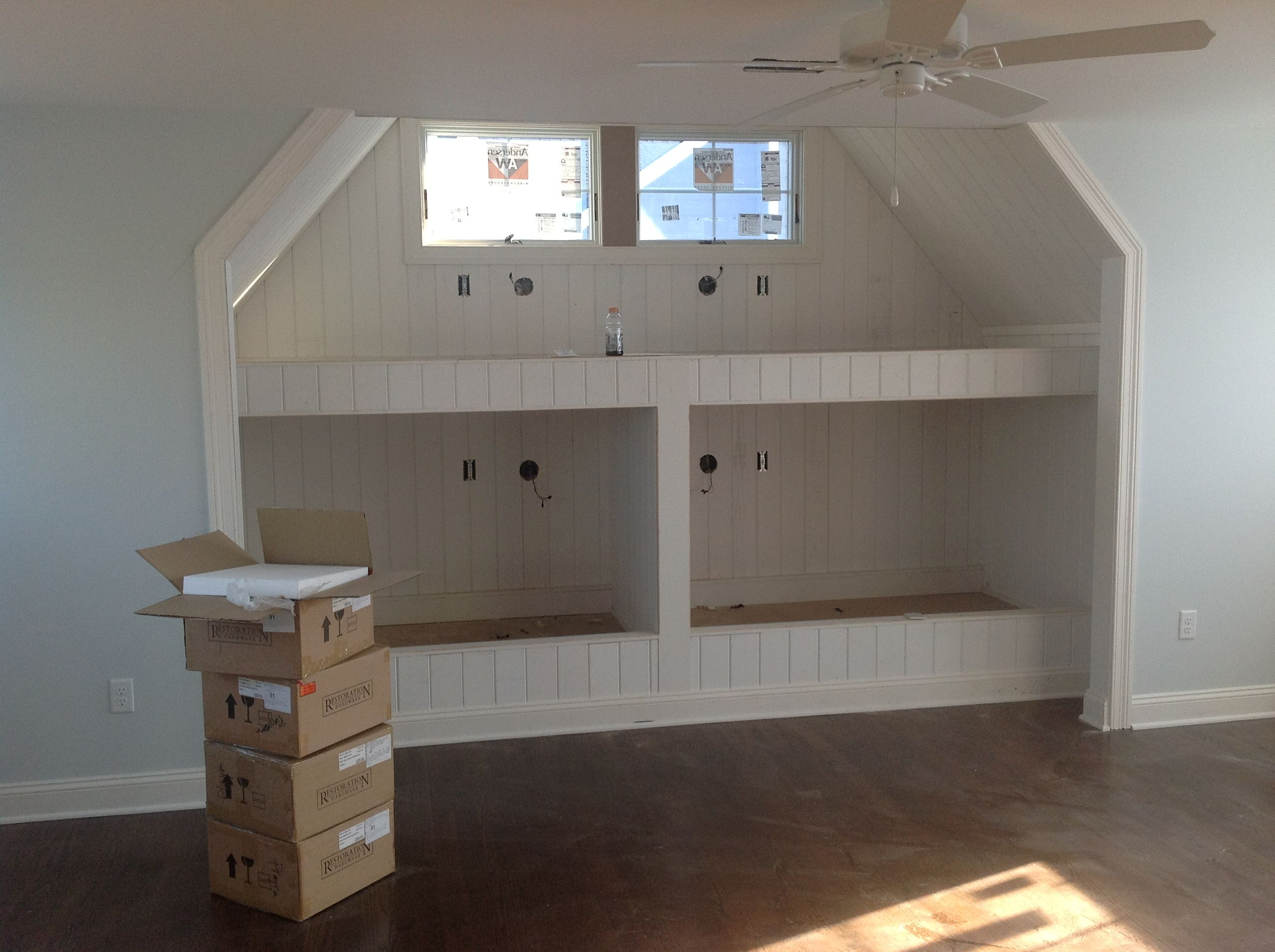 Built in bunk beds in bonus room above garage house for Garage bedroom