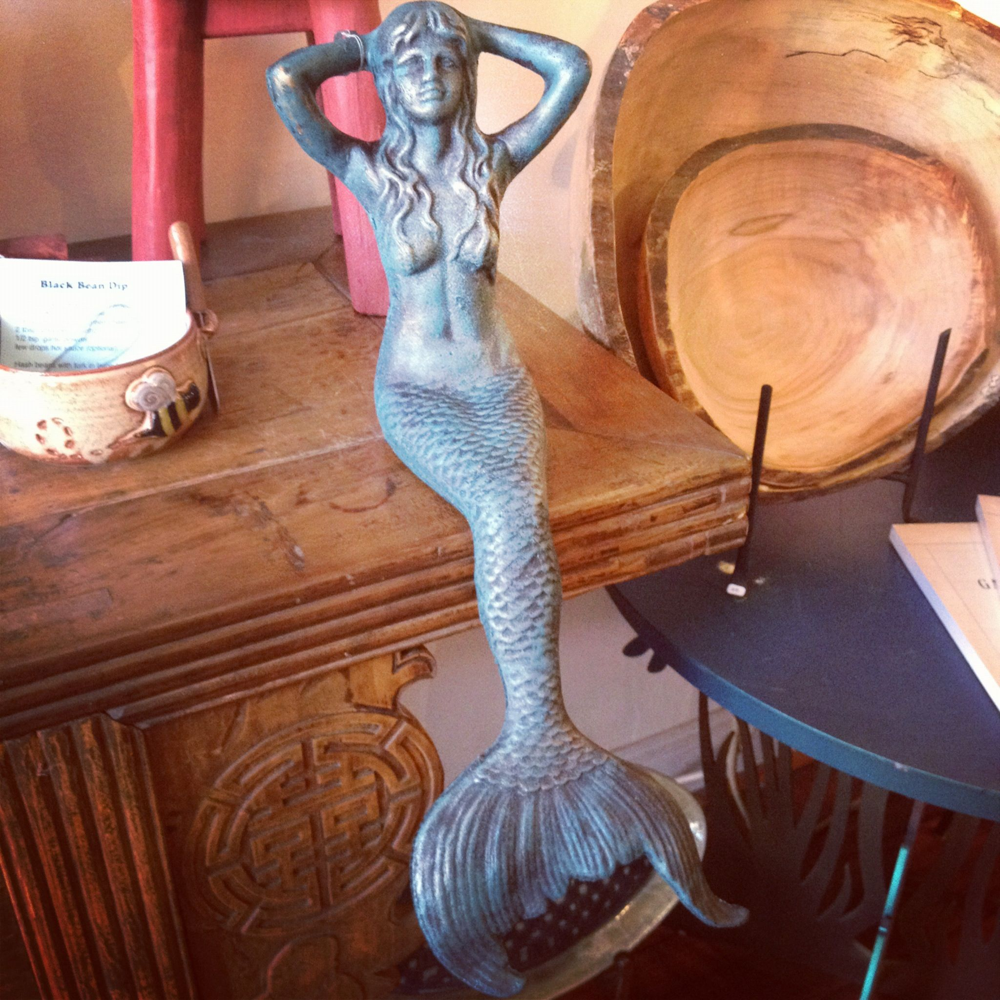 New teal & Gold glimmer mermaids now available at Diving Cat Studio Gallery in Phoenixville, PA; www.divingcatstudio.com
