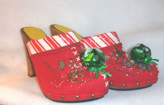 sale retailer 54734 0c232 Christmas shoes ugly Christmas sweater party red shoes altered upcycled