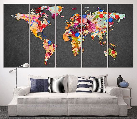 Paint Splashes World Map Canvas Print, Large Wall Art World Map Art, Black  Background