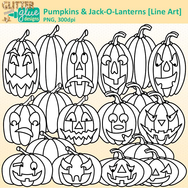 Pumpkin Clipart Digi Stamps