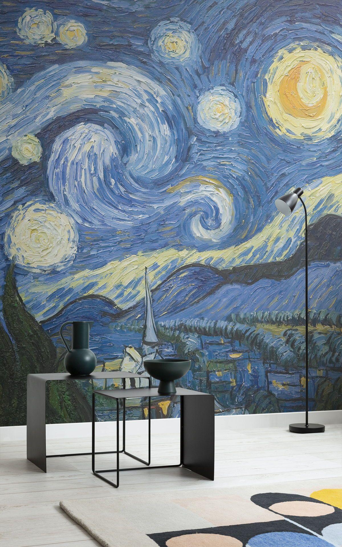 Starry Night Wallpaper Van Gogh Wallpaper For Walls Muralswallpaper In 2021 Starry Night Van Gogh Starry Night Wallpaper Art Wallpaper