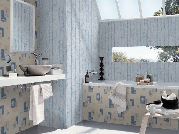 Tapete Blau Holz Aqua Relief Rasch 854329 Tapeten Gunstig Tapeten Badezimmer Tapete