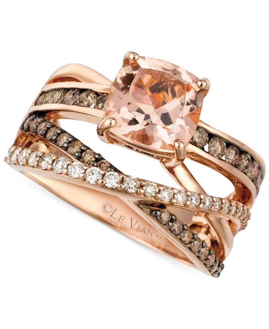 Peach Morganite 1 3 4 Ct T W And Diamond 3 4 Ct T W Ring
