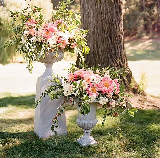 Wedding Altar Columns: Tall Columns Of Lush Pink Peony Floral Centerpieces For