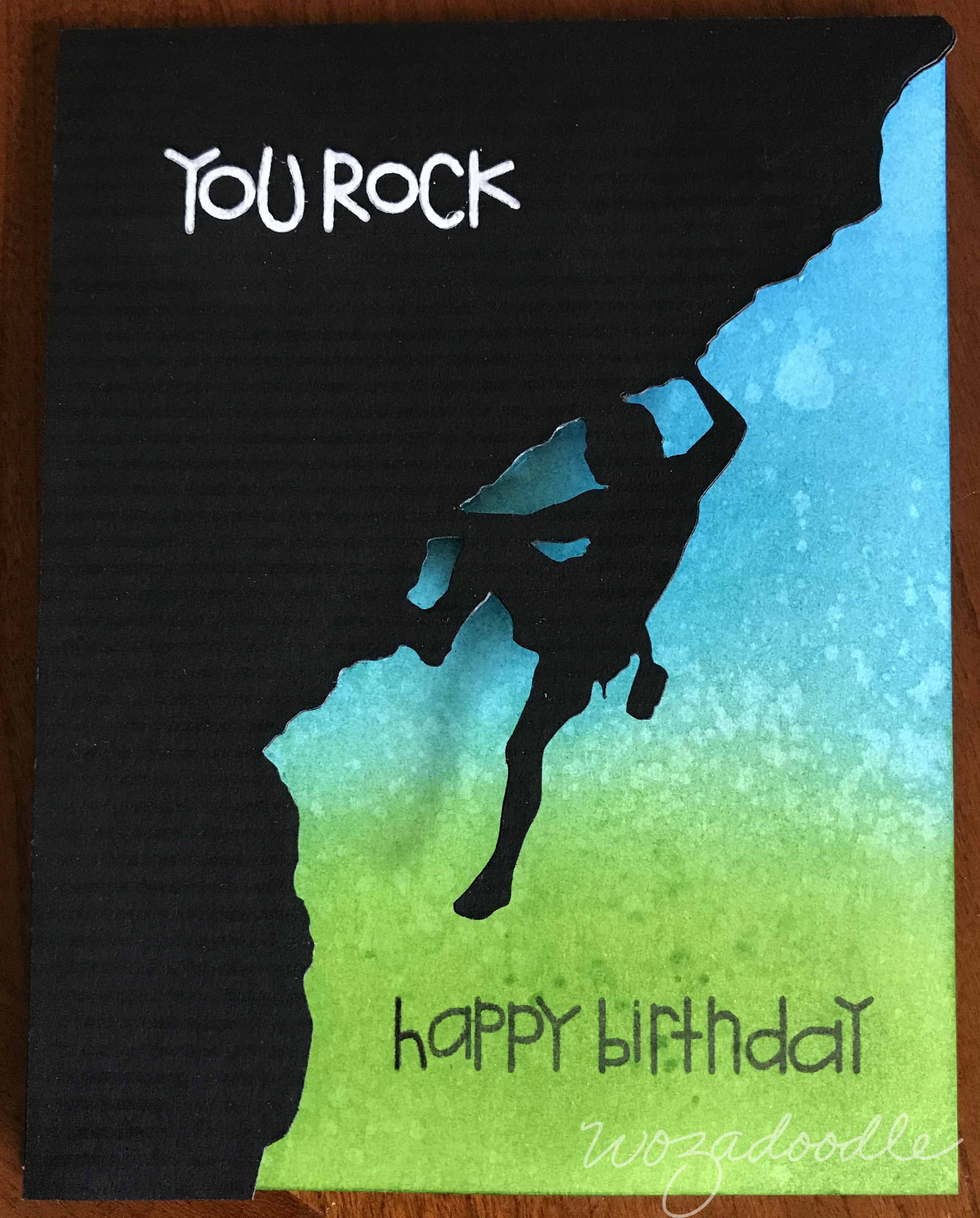 Rock Climbing Birthday Card Using Paper Smooches Sentiment Sampler Punny Card Ideas Pop Up Card Templates Happy Birthday Cards