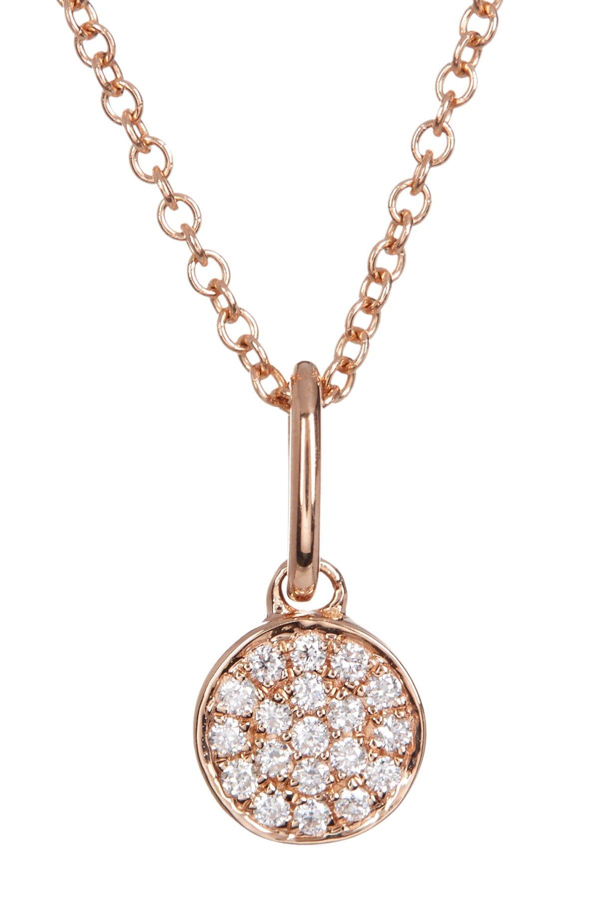 b52125dc0465b Bony Levy   18K Rose Gold Pave Diamond Flat Circle Pendant Necklace ...