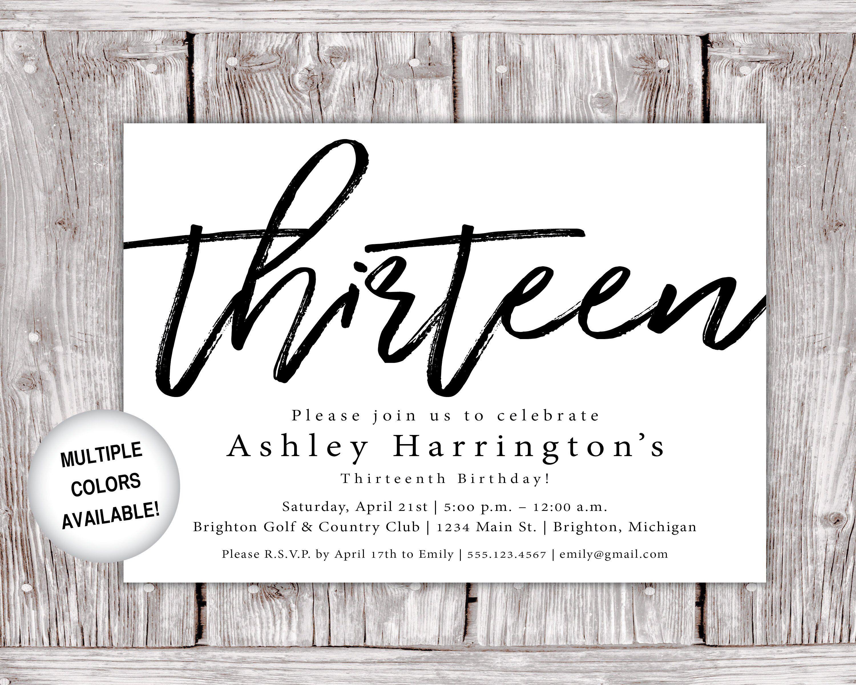 13th Birthday Invitations Printable Thirteenth Birthday Etsy 50th Birthday Invitations Printable Birthday Invitations 13th Birthday Invitations