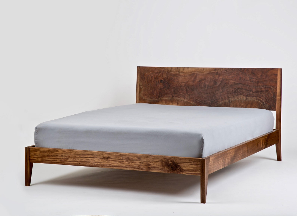Solid Wood Platform Bed Handmade Mid Century Modern Bedframe And