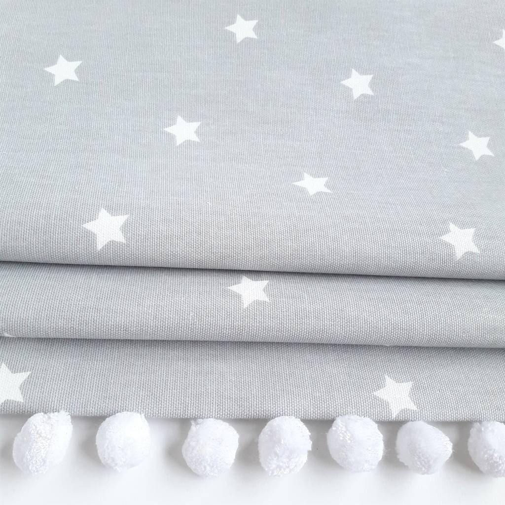 Grey Stars Roman Blind With Pom Pom Trim Bedroom Blinds