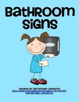 Bathroom Signs For Kindergarten bathroom signs and labels   students, school and kindergarten