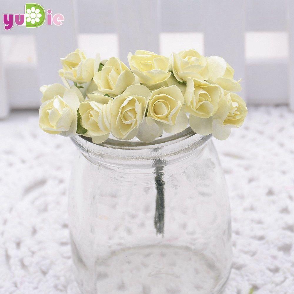 12pcs/lot 1cm Mini Paper Rose Flowers Bouquet Wedding Decoration Paper Flower For DIY Scrapbooking Flowers Paper Cheap Flores