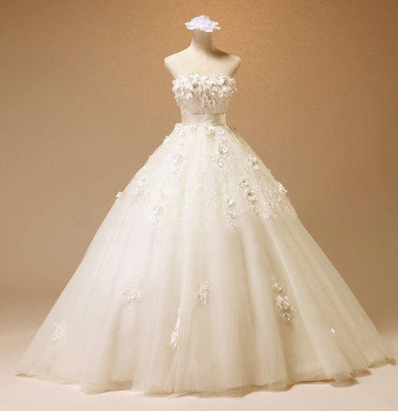 Custom Halter White Lace Flower Tulle Wedding Dress By