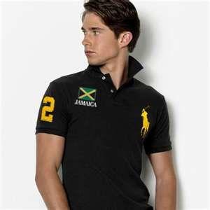 Flag Polo  Ralph Lauren Slim Custom-Fit Jamaica Flag Polo Black Yellow efa72360b5e0