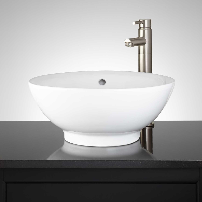 Kasdy Round Porcelain Vessel Sink   Vessel Sinks   Bathroom Sinks   Bathroom