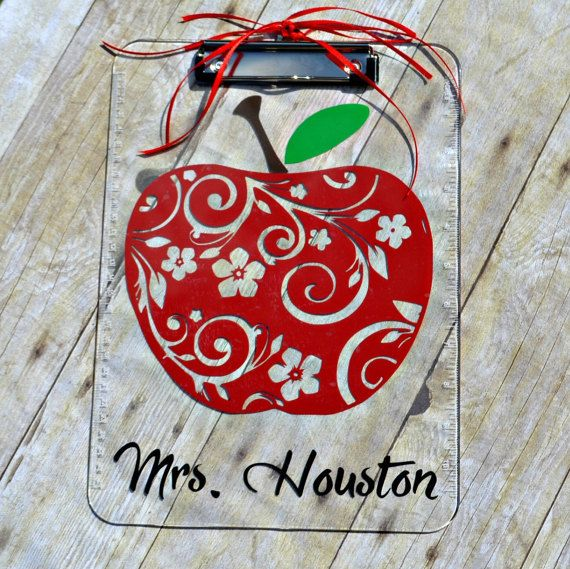 Personalized Apple Clipboard For Teacher School Supplies End Of