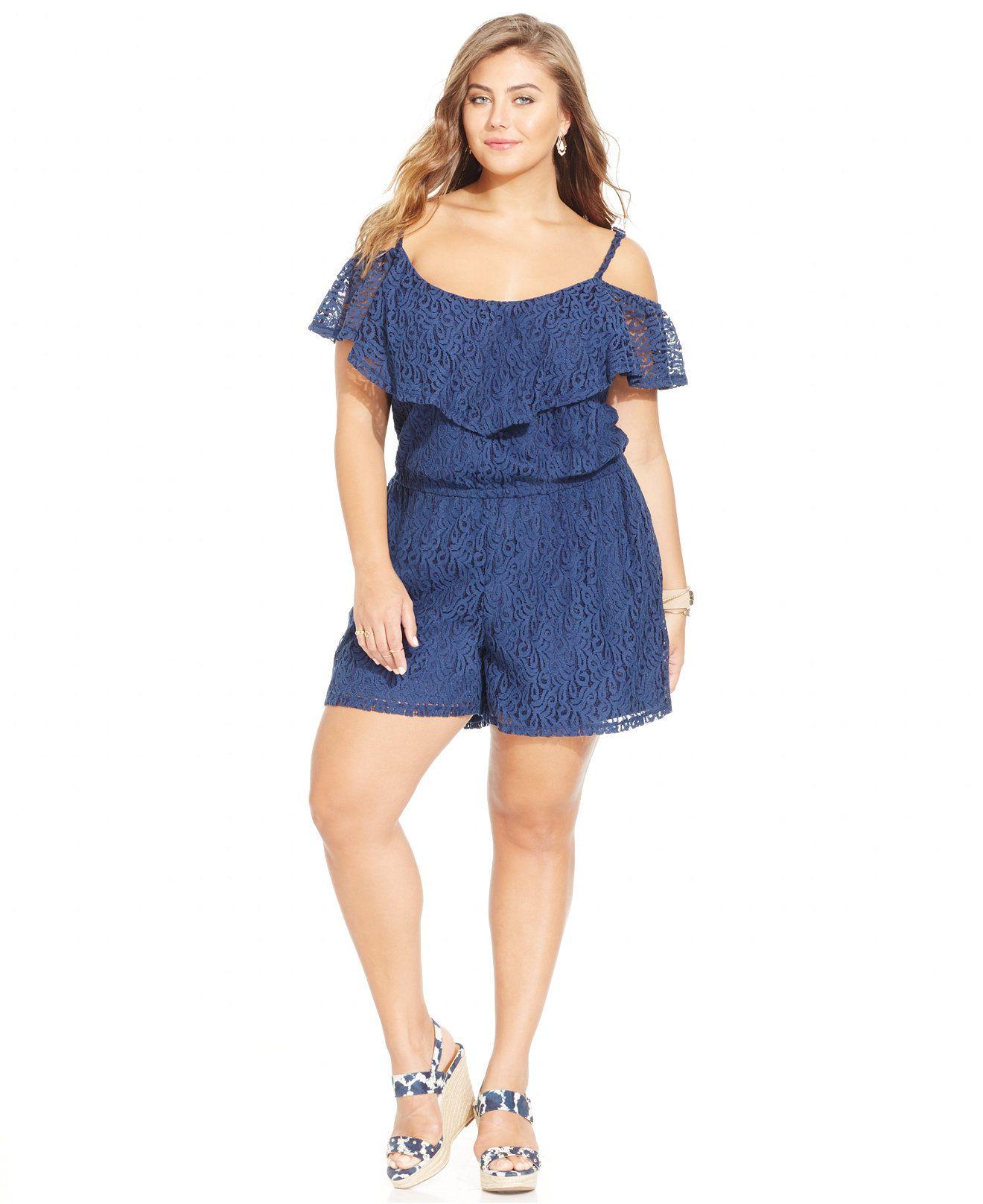 d0a7cd93154 Jessica Simpson Plus Size Off-The-Shoulder Lace Romper - Jumpsuits   Rompers  - Plus Sizes - Macy s