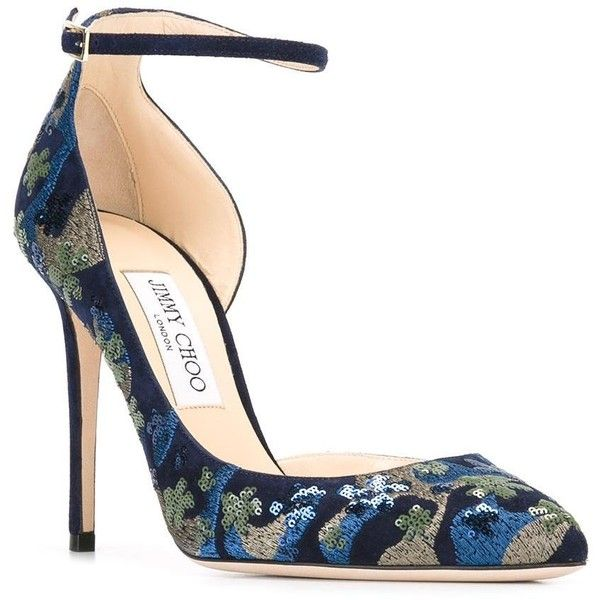 Jimmy Choo Lucy 100 pumps (861 AUD) ❤ liked on Polyvore featuring shoes, pumps, jimmy choo pumps, high heel pumps, navy pumps, navy blue stilettos and pointy toe pumps