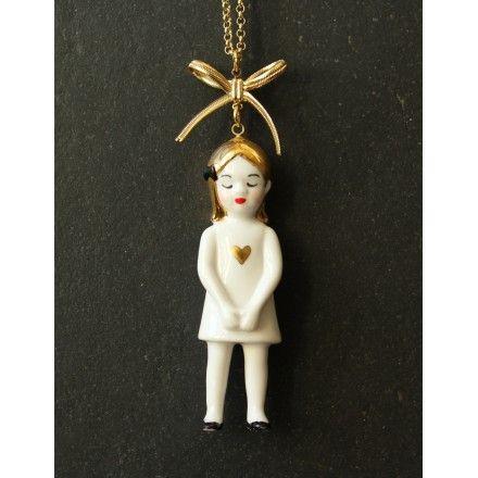 Porcelain doll necklace 'Eleonore'