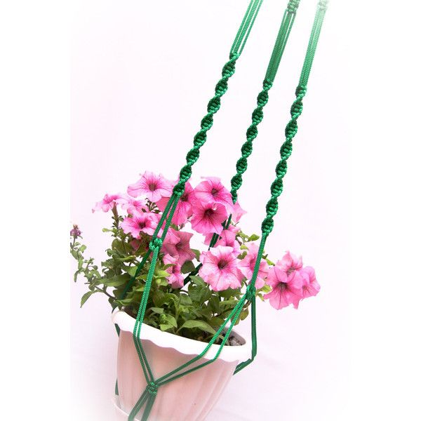 """Green 50"""" Plant Holder Green Long Hanging Planter Large Macrame Plant... (€12) ❤ liked on Polyvore featuring home, outdoors, outdoor decor, outdoor planters, green planters, outside garden decor, macrame plant holder and outdoor patio decor"""