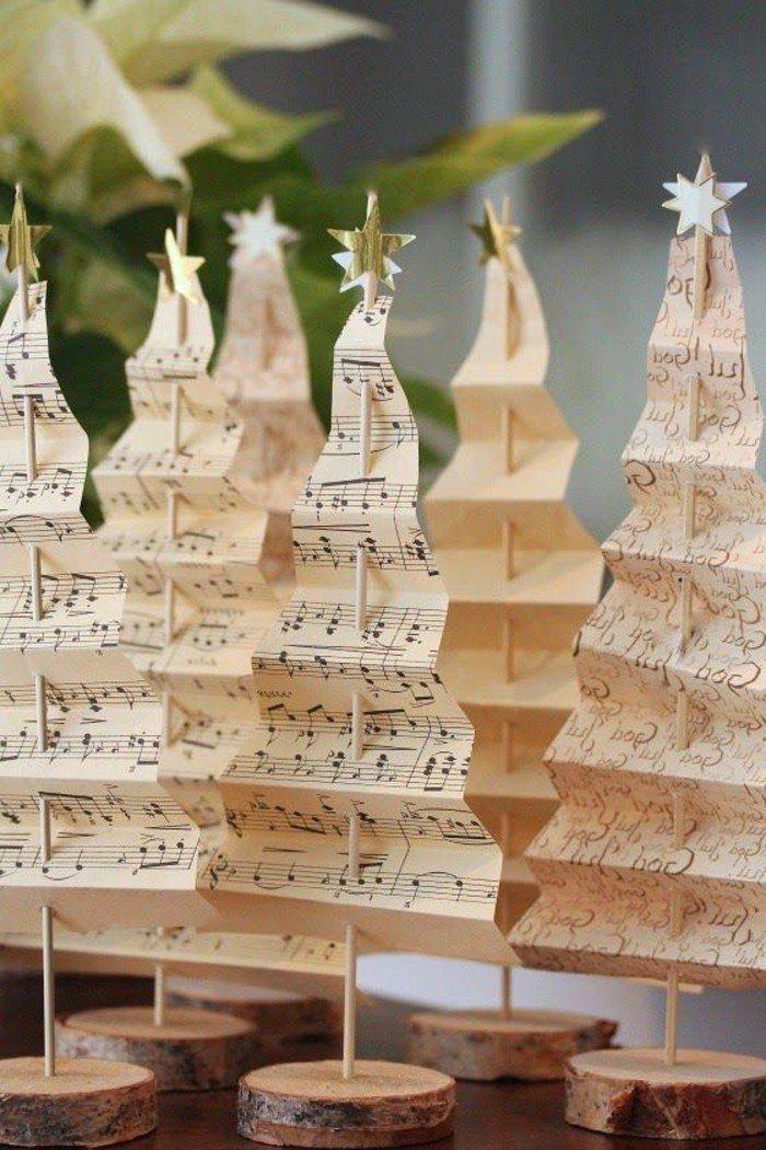 decoration noel sapin en papier et en rondelles en bois