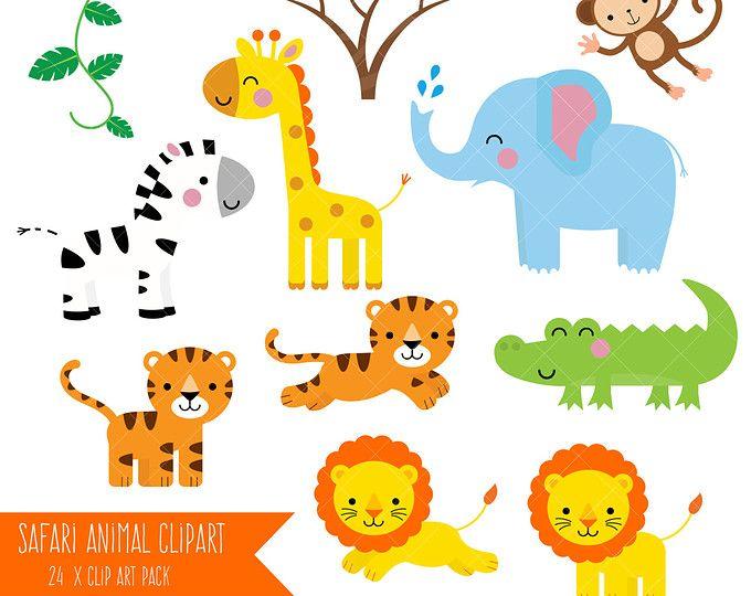 Safari Animales Clipart Animales Selva Para Imprimir Clip Art Monos Jirafa Elefante Cocodrilo Leon Animales De Zoologico Imagenes De Animales Clipart