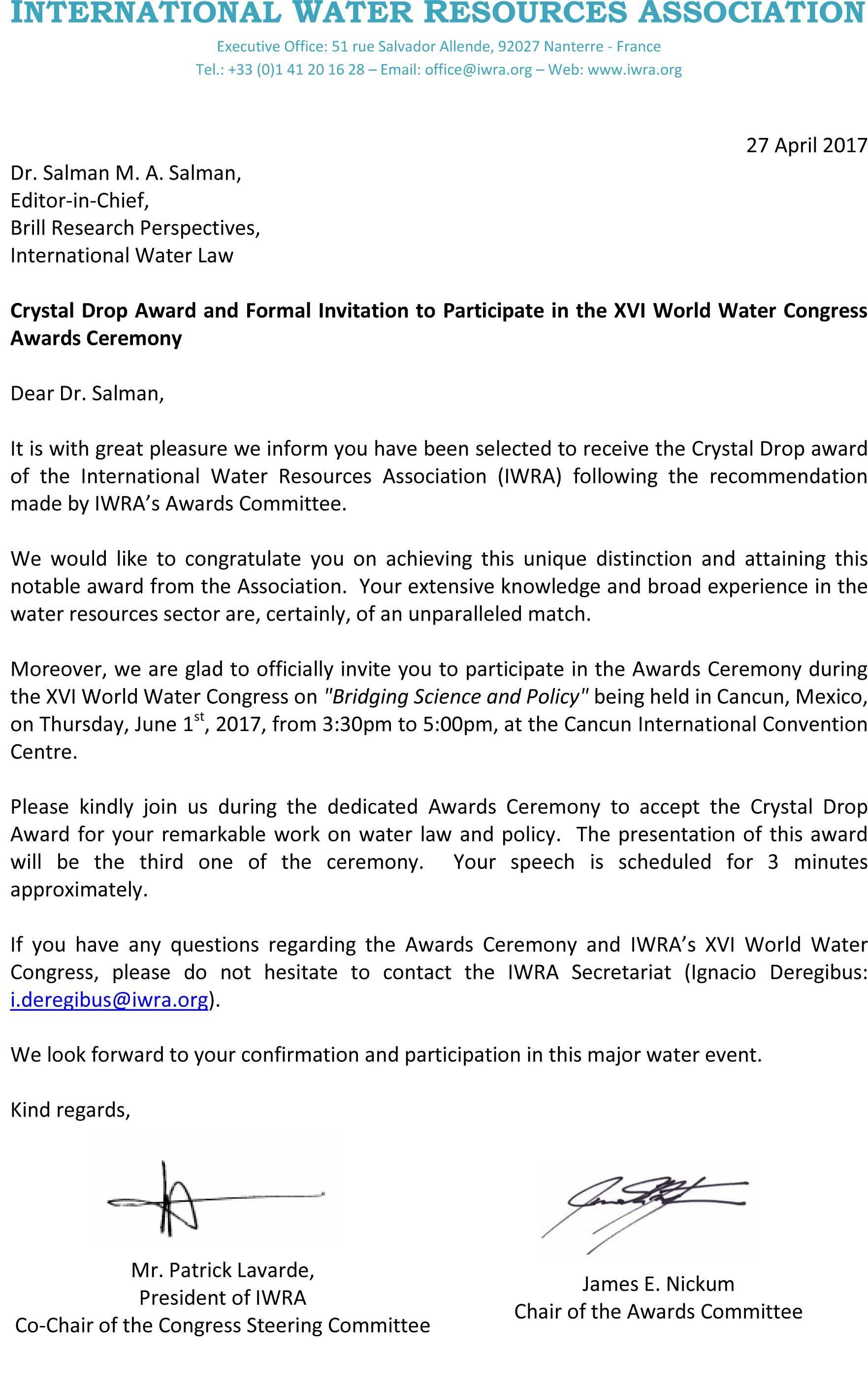 الجمعية الدولية لمصادر المياه تُكرِّم د. سلمان بمنحه جائزة قِطْرة الكريستال لعام 2017