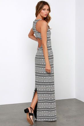 Ivory and Black Maxi Dress