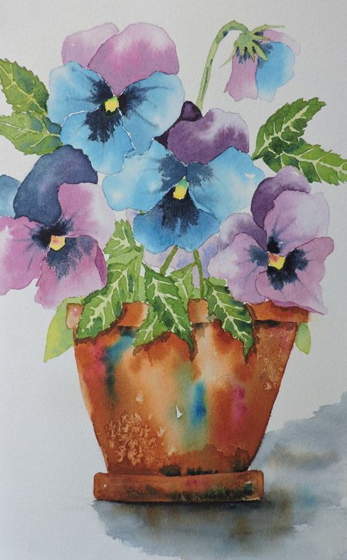 Periwinkles Watercolor Painting Watercolor Paintings Watercolor