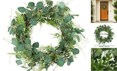 "Photo of Miracliy 20"" Green Leaf Eucalyptus Wreath White Flowers Fern Leaves for  #fashi…"