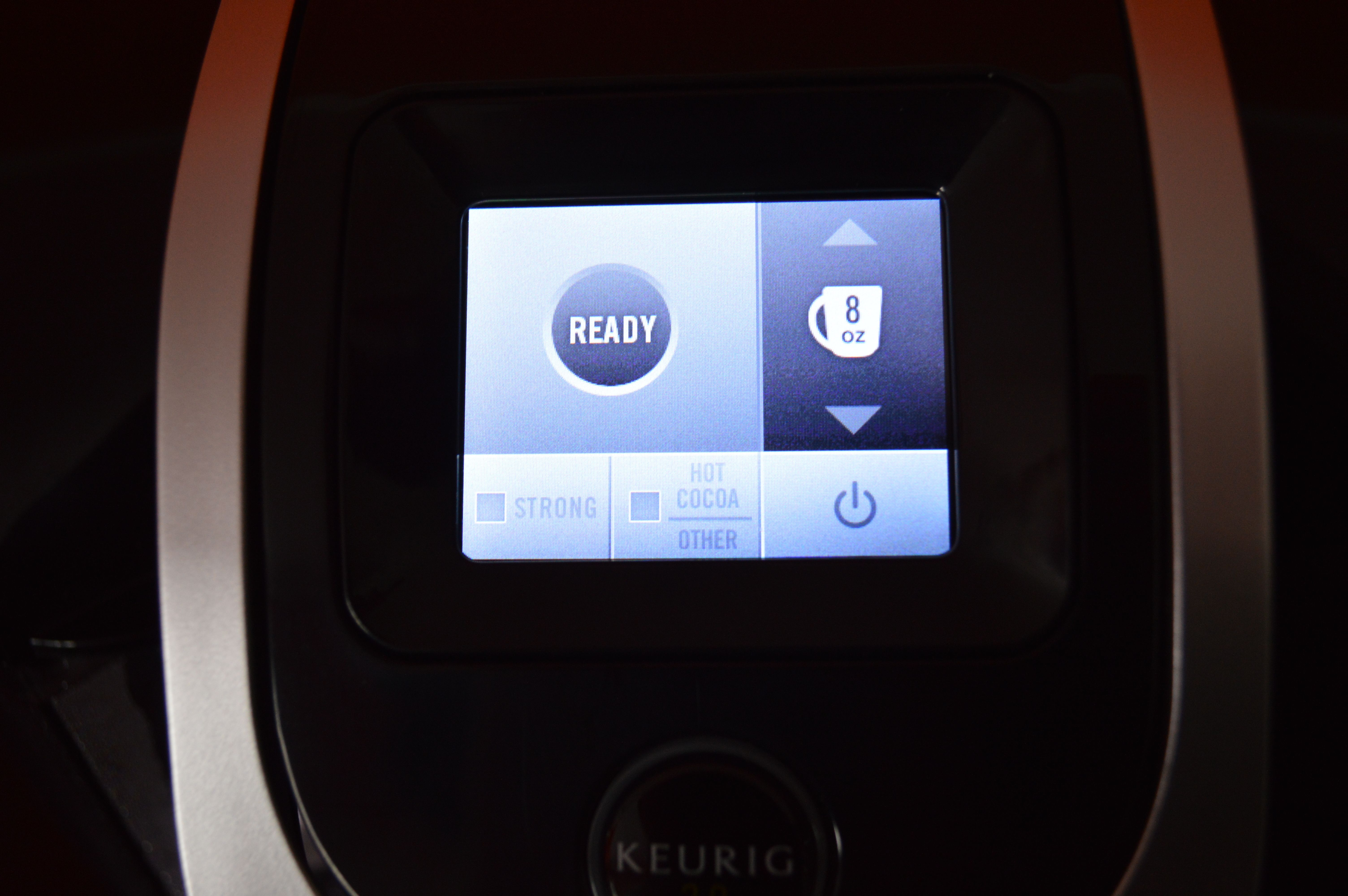 The Keurig 2.0 has a touch screen which you can choose a