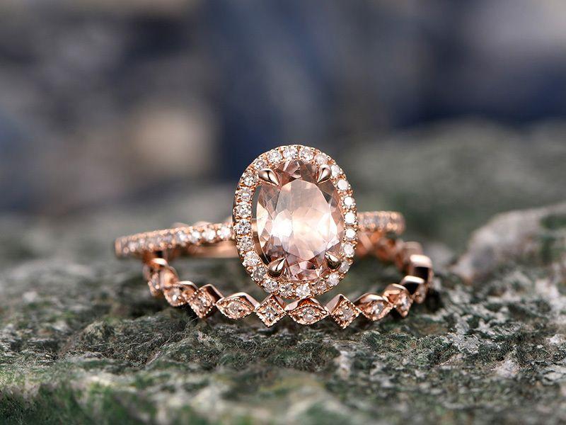 3.50Ct Pear Cut Morganite Diamond Solitaire Engagement Ring 14K Rose Gold Finish