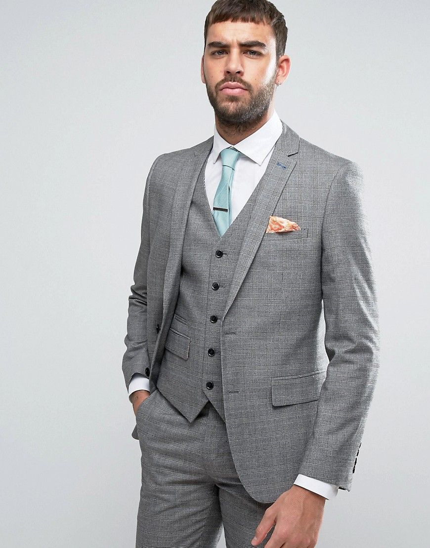 2b6fa0105 Get this Harry Brown s suit now! Click for more details. Worldwide  shipping. Harry Brown Grey Check Heritage Suit Jacket - Grey  Suit jacket  by Harry Brown