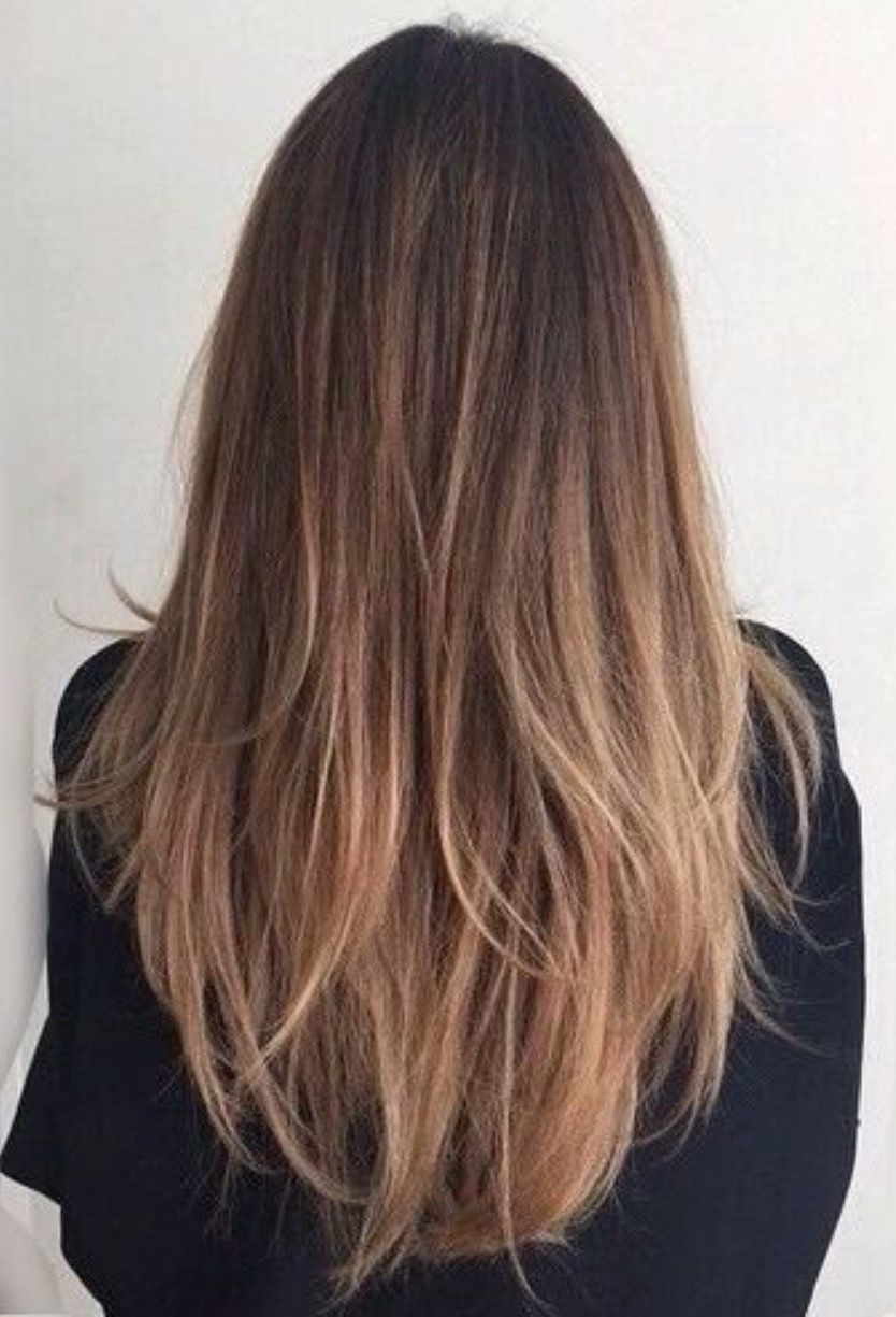 Long Shoulder Length Brown Hair Waves Ends With Balayage Ombre Style Tips Brown Straight Hair Straight Hair Highlights Balayage Straight Hair