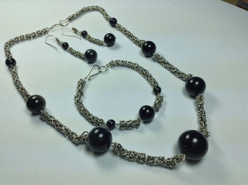 Byzantiketten Set mit Obsidian  von LaSombrilla auf DaWanda.com