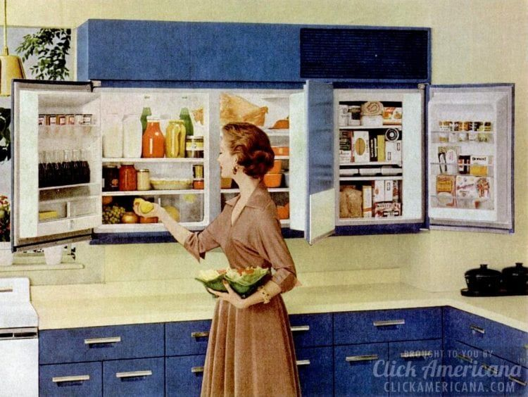 Forget Kitchen Cabinets Install A Wall Mounted Refrigerator Yes This Was Really A Thing In The 50s Vintage Kitchen Retro Kitchen Vintage Interiors