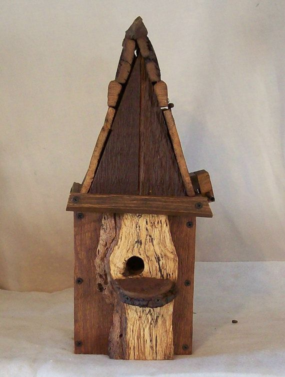 Rustic Country WOOD BIRDHOUSE with Tobacco Stick by HoosierPickers, $69.00