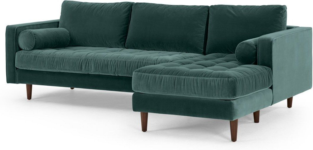 Scott 4 Seater Right Hand Facing Chaise End Corner Sofa, Petrol Cotton Velvet | made.com