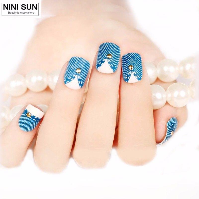 Hot Selling 24PCS French Short Design Full Cover Art Fake Nails Blue ...